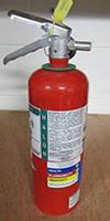 A Halon fire extinguisher